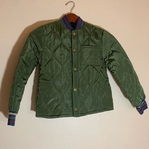 art class Quilted Army Green Bomber Jacket